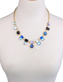 Fashion Blue Geometric Shape Diamond Decorated Necklace