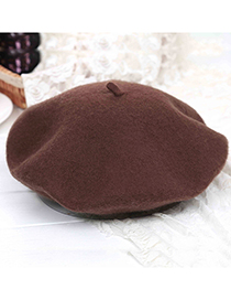 Fashion Brown Pure Color Decorated Berets