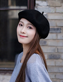 Fashion Black Pure Color Decorated Berets