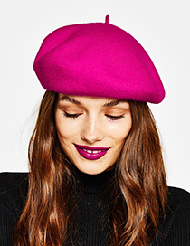 Fashion Plum Red Pure Color Decorated Berets