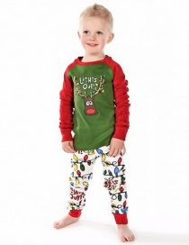 Fashion Green Elk Pattern Decorated Nightgown For Child