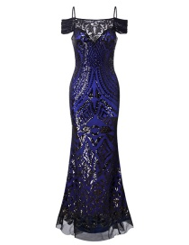 Fashion Blue Sequins Decorated Dress