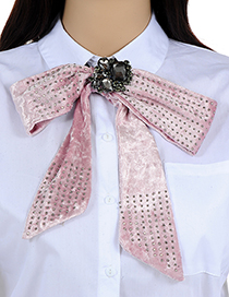 Fashion Light Pink Rivet Decorated Pure Color Bowknot Brooch