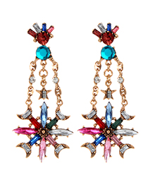 Fashion Multi-color Snowflake Decorated Long Earrings