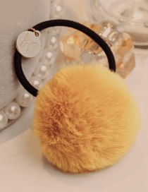 Lovely Yellow Fuzzy Ball Decorated Pure Color Hair Band