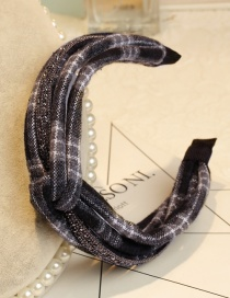 Lovely Black Grid Pattern Decorated Knot Design Hair Hoop