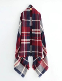 Fashion Red+navy Color-matching Decorated Scarf