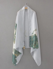Elegant Gray Lotus Leaves Decorated Scarf