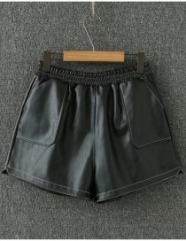 Fashion Black Pure Color Deccorated Simple Shorts
