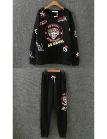 Fashion Black Tiger Pattern Decorated Hoodie Suits