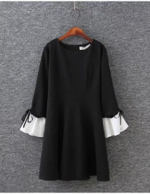 Fashion Black Flare Sleeves Design Patchwork Long Dress