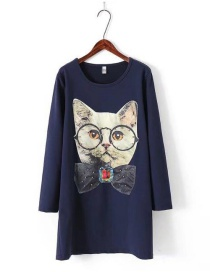 Fashion Navy Cats Pattern Decorated Long Dress
