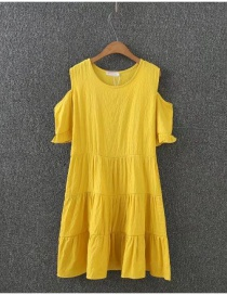 Fashion Yellow Pure Color Decorated A Shape Design Dress