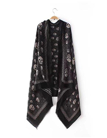 Fashion Black Skull Pattern Decorated Simple Scarf