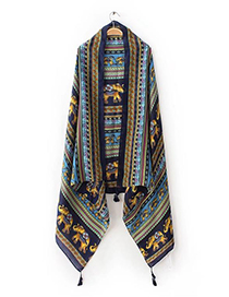 Fashion Navy Elephant Pattern Decorated Tassel Scarf