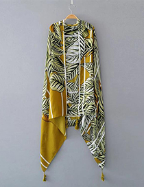 Fashion Yellow Leaf Pattern Decorated Tassel Scarf