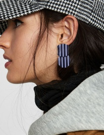 Fashion White+black Stripe Pattern Decorated Earrings