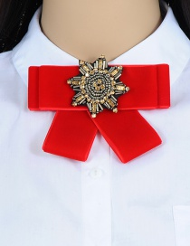 Trendy Red Beads Decorated Simple Bowknot Brooch