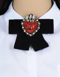 Trendy Black Heart Shape Decorated Bowknot Brooch