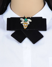 Trendy Black Bee Shape Decorated Bowknot Brooch