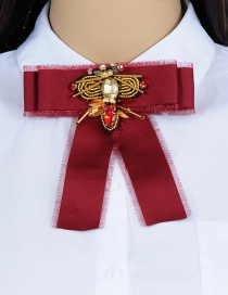 Trendy Claret Red Dragonfly Shape Design Bowknot Brooch