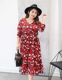 Fashion Claret Red Flower Pattern Decorated Long Dress