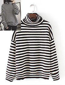 Trendy Black Stripe Pattern Decorated High-neckline Sweater