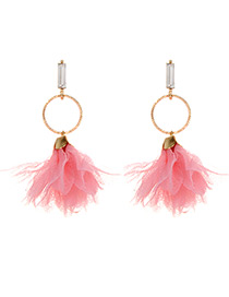 Fashion Pink Flower Decorated Pure Color Earrings