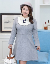 Trendy Gray Flower&pearls Decorated Long Sleeves Dress