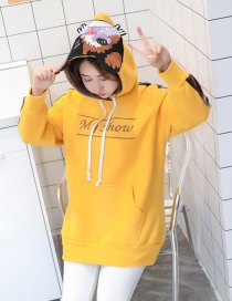 Trendy Yellow Letter Pattern Decorated Loose Hoodie