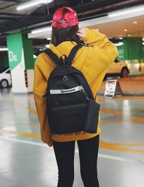 Fashion Black Letter Pattern Decorated Backpack(2pcs)