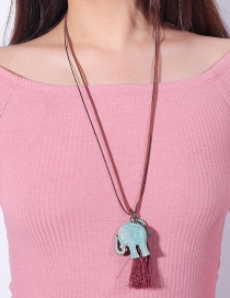Lovely Blue Elephant Shape Decorated Necklace