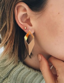 Fashion Gold Color Rhombus Shape Design Pure Color Earrings