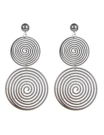 Fashion Silver Color Circular Ring Design Multi-layer Earrings