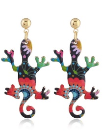 Personality Multi-color Lizard Shape Decorated Earrings