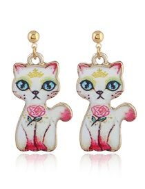 Lovely Pink Cat Shape Decorated Earrings