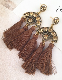Bohemia Coffee Hollow Out Decorated Tassel Earrings