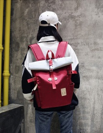 Fashion Red Color-matching Decorated Backpack