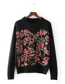 Fashion Multi-color Embroidery Flowers Decorated Sweater
