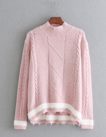 Fashion Pink Pure Color Decorated Round Neckline Sweater