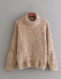 Fashion Light Brown Color-matching Decorated Sweater