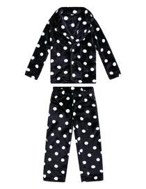 Fashion Black Dot Shape Decorated Pajamas For Child (1suit)