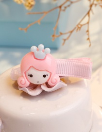 Fashion Pink Girl Shape Decorated Hair Clip