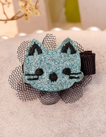 Cute Blue Cat Shape Decorated Hair Clip