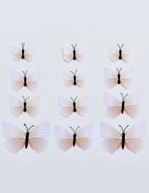 Lovely Beige Butterfly Shape Decorated Ornament (12pcs)