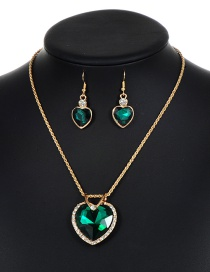 Lovely Green Heart Shape Decorated Jewelry Sets