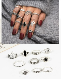Bohemia Silver Color Hollow Out Decorated Rings (11pcs)