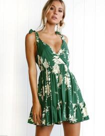 Bohemia Green Leaf Shape Decorated Dress