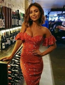 Elegant Red Off-the-shoulder Decorated Dress