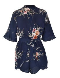 Fashion Navy Flower Shape Decorated Jumpsuits